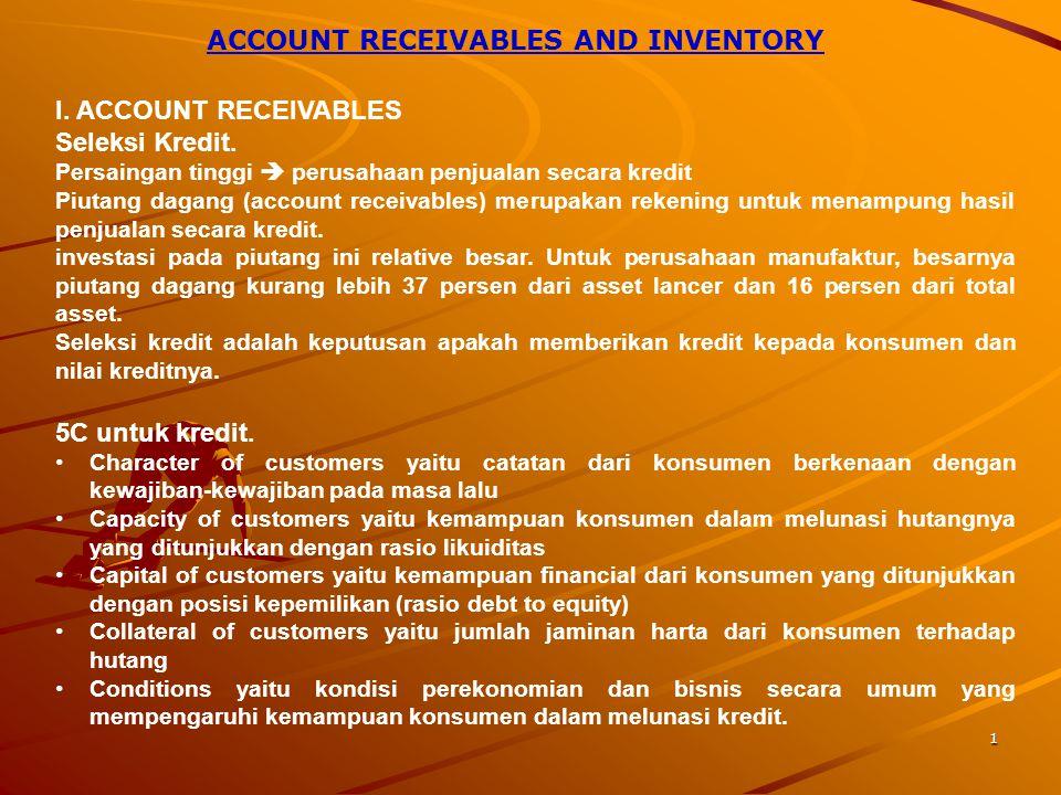 1 ACCOUNT RECEIVABLES AND INVENTORY I.ACCOUNT RECEIVABLES Seleksi Kredit.
