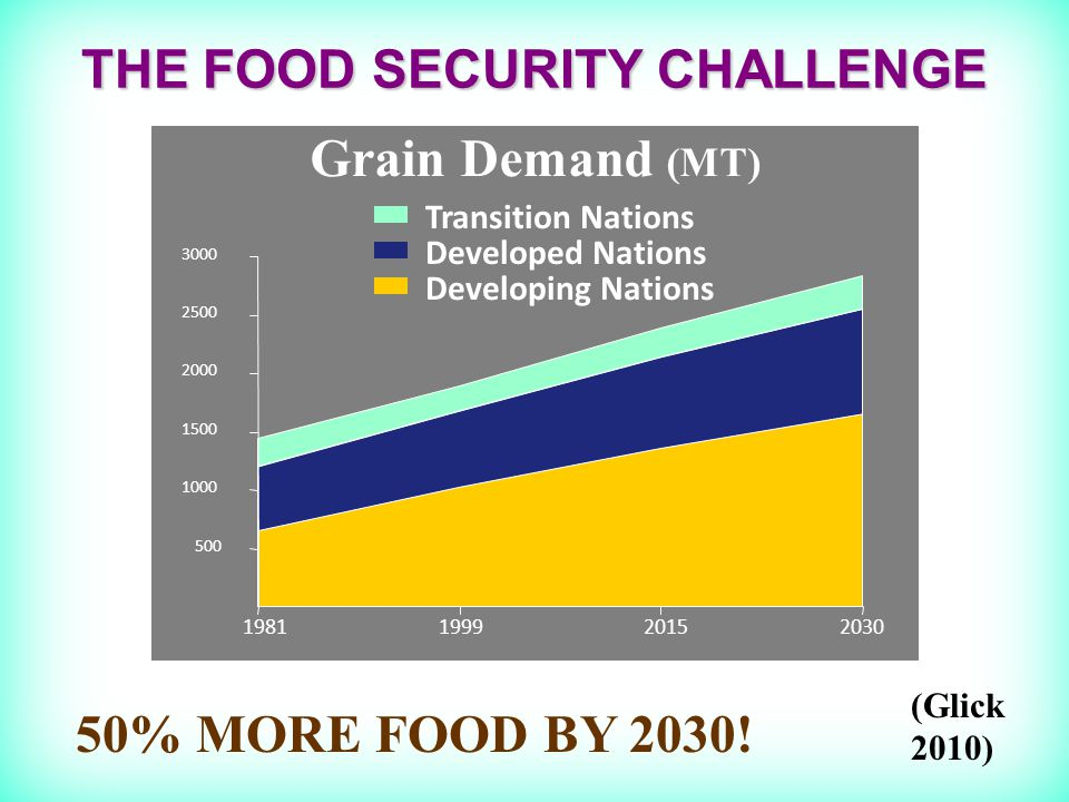 THE FOOD SECURITY CHALLENGE 50% MORE FOOD BY 2030.