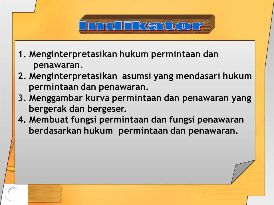 Kompetensi Dasar 3.2. Menjelaskan hukum permintaan dan hukum penawaran serta asumsi yang mendasarinya. STANDAR KOMPETENSI: 3. Memahami konsep ekonomi