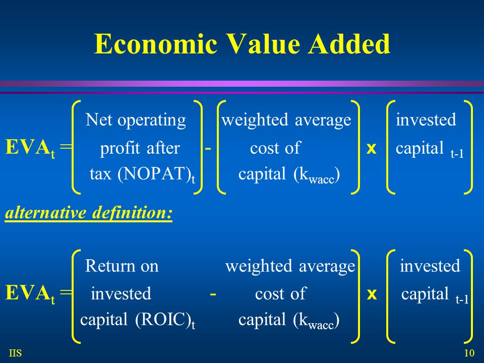 10 IIS Economic Value Added Net operating weighted average invested EVA t = profit after - cost of x capital t-1 tax (NOPAT) t capital (k wacc ) alternative definition: Return on weighted average invested EVA t = invested - cost of x capital t-1 capital (ROIC) t capital (k wacc )