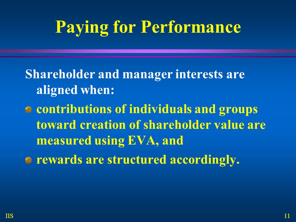 11 IIS Paying for Performance Shareholder and manager interests are aligned when: contributions of individuals and groups toward creation of shareholder value are measured using EVA, and rewards are structured accordingly.