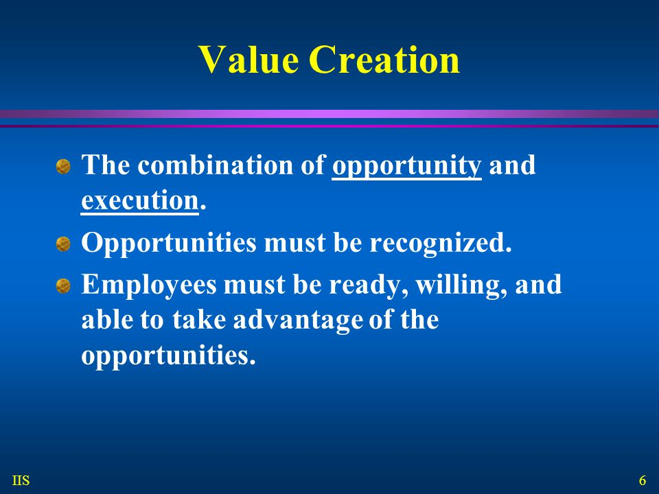 6 IIS Value Creation The combination of opportunity and execution.