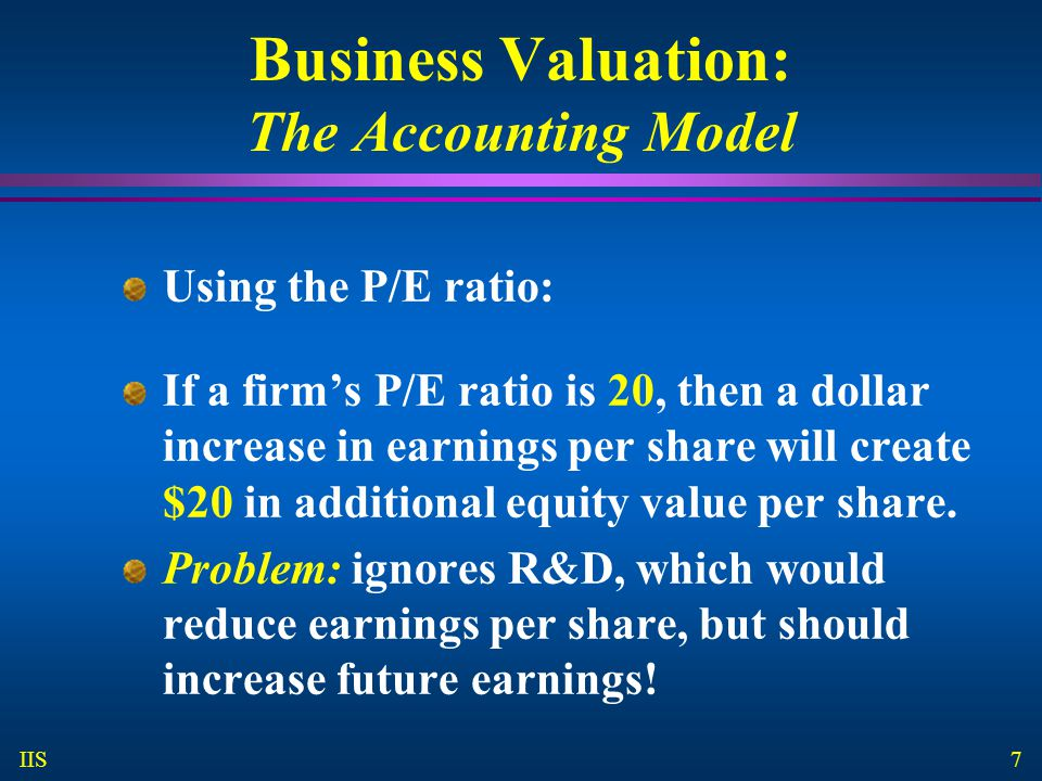8 IIS Business Valuation: Free Cash Flow Valuation Model Value = the PV of the firm's projected free cash flows for all future years.