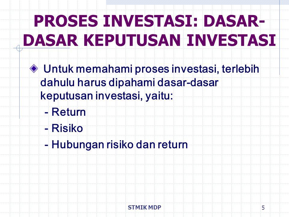 STMIK MDP 5 PROSES INVESTASI: DASAR- DASAR KEPUTUSAN INVESTASI Untuk memahami proses investasi, terlebih dahulu harus dipahami dasar-dasar keputusan i