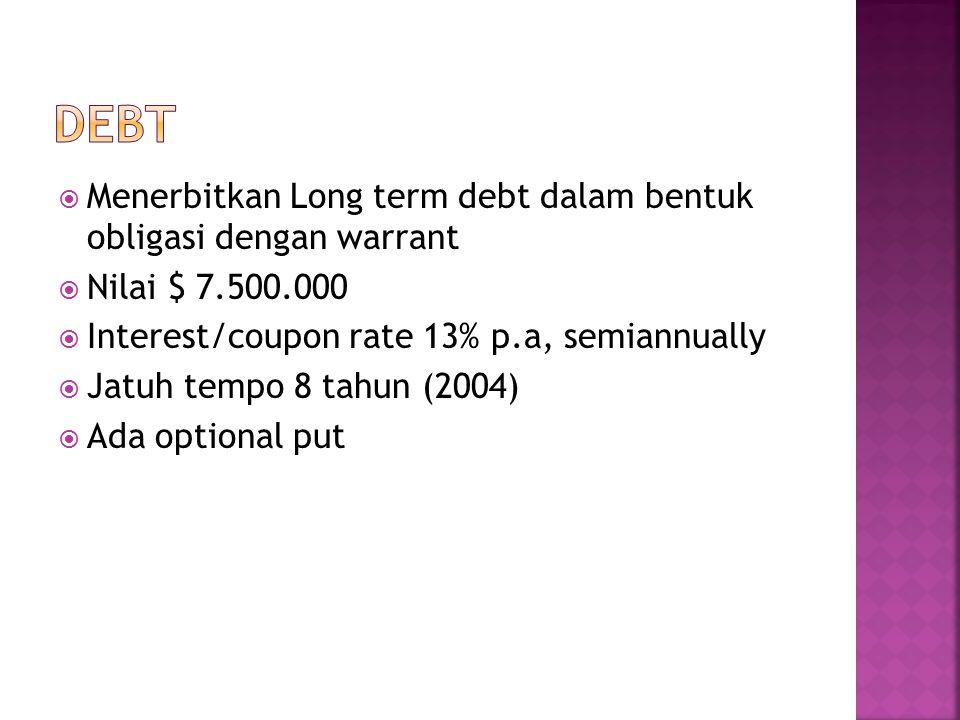  Menerbitkan Long term debt dalam bentuk obligasi dengan warrant  Nilai $ 7.500.000  Interest/coupon rate 13% p.a, semiannually  Jatuh tempo 8 tahun (2004)  Ada optional put