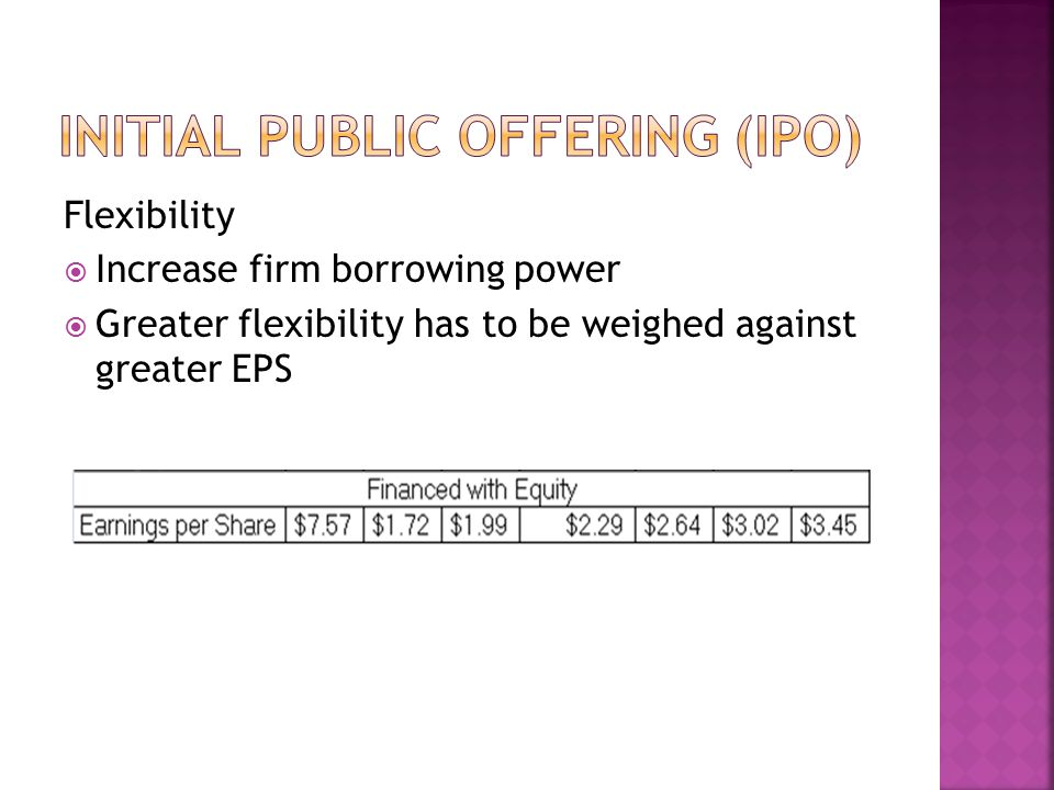 Flexibility  Increase firm borrowing power  Greater flexibility has to be weighed against greater EPS