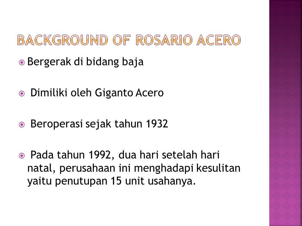  Bergerak di bidang baja  Dimiliki oleh Giganto Acero  Beroperasi sejak tahun 1932  Pada tahun 1992, dua hari setelah hari natal, perusahaan ini menghadapi kesulitan yaitu penutupan 15 unit usahanya.