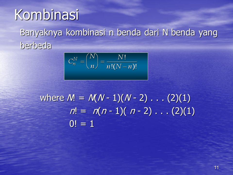 11 Banyaknya kombinasi n benda dari N benda yang berbeda whereN! = N(N - 1)(N - 2)... (2)(1) whereN! = N(N - 1)(N - 2)... (2)(1) n! = n(n - 1)( n - 2)