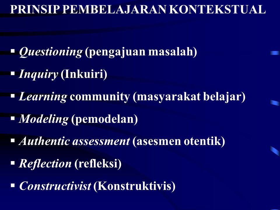 PRINSIP PEMBELAJARAN KONTEKSTUAL  Questioning (pengajuan masalah)  Inquiry (Inkuiri)  Learning community (masyarakat belajar)  Modeling (pemodelan
