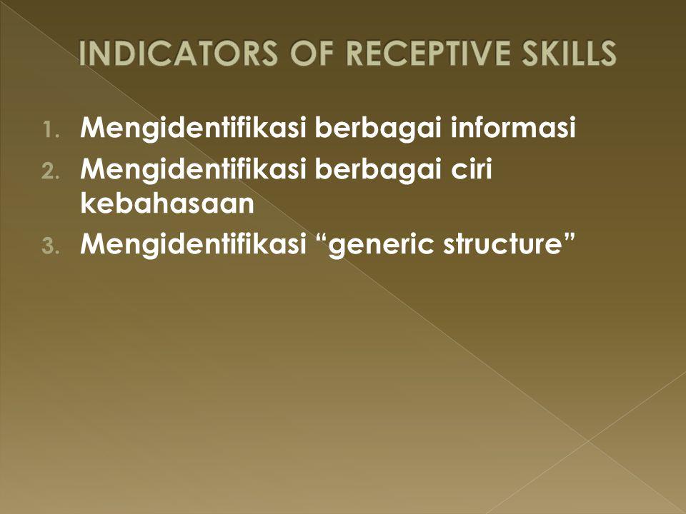 """1. Mengidentifikasi berbagai informasi 2. Mengidentifikasi berbagai ciri kebahasaan 3. Mengidentifikasi """"generic structure"""""""