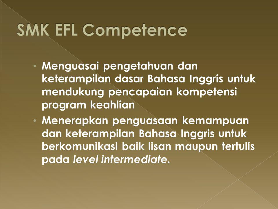 Menguasai pengetahuan dan keterampilan dasar Bahasa Inggris untuk mendukung pencapaian kompetensi program keahlian Menerapkan penguasaan kemampuan dan
