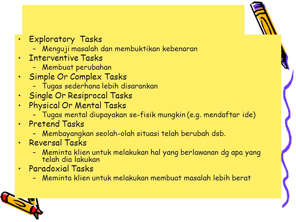 TASK OPTIONS Exploratory Tasks –Menguji masalah dan membuktikan kebenaran Interventive Tasks –Membuat perubahan Simple Or Complex Tasks –Tugas sederhana lebih disarankan Single Or Resiprocal Tasks Physical Or Mental Tasks –Tugas mental diupayakan se-fisik mungkin (e.g.