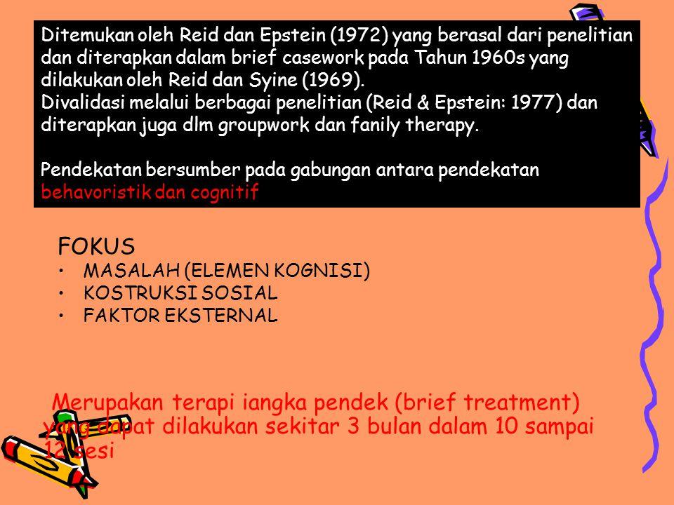 FOKUS MASALAH (ELEMEN KOGNISI) KOSTRUKSI SOSIAL FAKTOR EKSTERNAL Ditemukan oleh Reid dan Epstein (1972) yang berasal dari penelitian dan diterapkan da