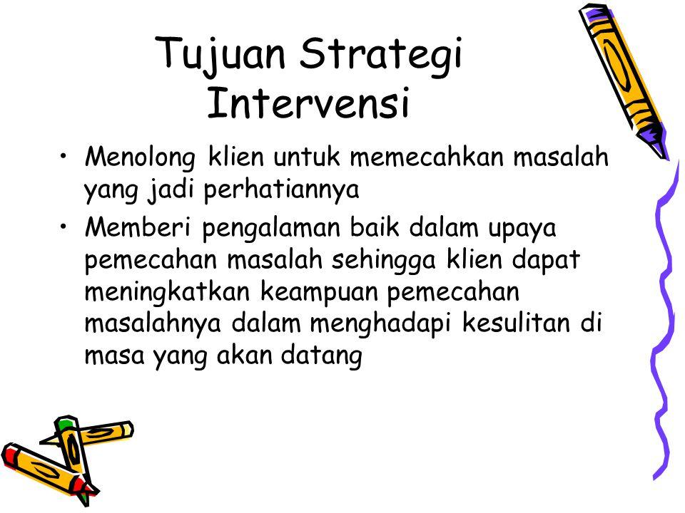 Tujuan Strategi Intervensi Menolong klien untuk memecahkan masalah yang jadi perhatiannya Memberi pengalaman baik dalam upaya pemecahan masalah sehingga klien dapat meningkatkan keampuan pemecahan masalahnya dalam menghadapi kesulitan di masa yang akan datang