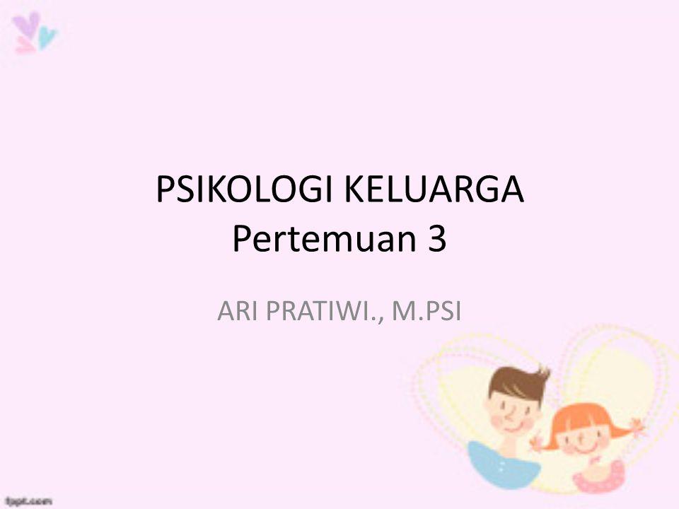 PSIKOLOGI KELUARGA Pertemuan 3 ARI PRATIWI., M.PSI