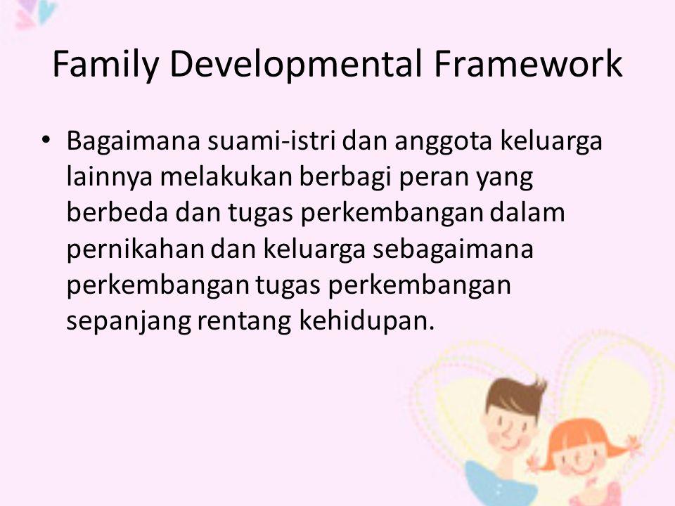 Family Developmental Framework Bagaimana suami-istri dan anggota keluarga lainnya melakukan berbagi peran yang berbeda dan tugas perkembangan dalam pernikahan dan keluarga sebagaimana perkembangan tugas perkembangan sepanjang rentang kehidupan.