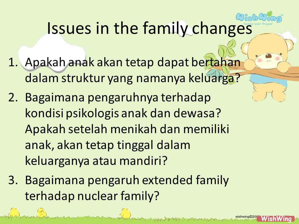 Issues in the family changes 1.Apakah anak akan tetap dapat bertahan dalam struktur yang namanya keluarga? 2.Bagaimana pengaruhnya terhadap kondisi ps