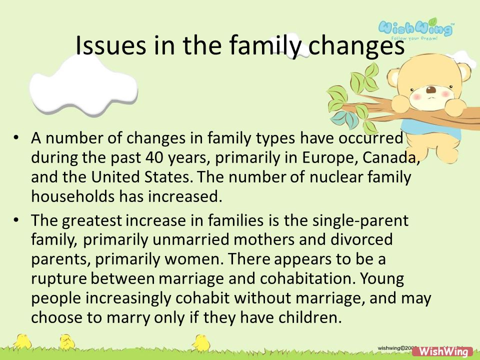 Issues in the family changes A number of changes in family types have occurred during the past 40 years, primarily in Europe, Canada, and the United S