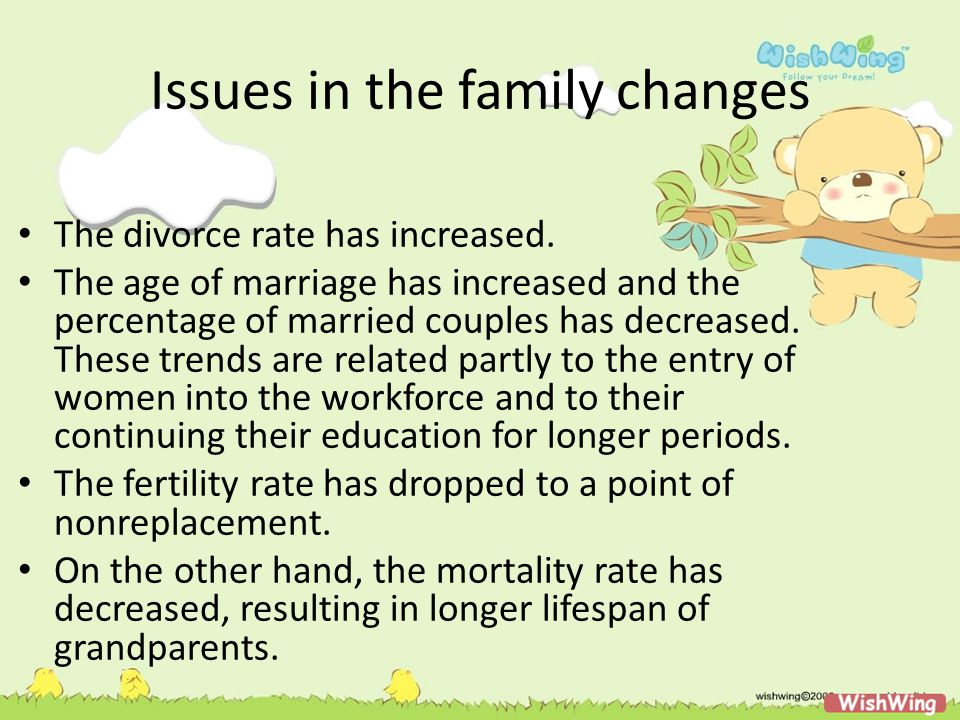 Issues in the family changes The Journal of Marriage and the Family (2000) is devoted to examining many of these issues during the previous decade.