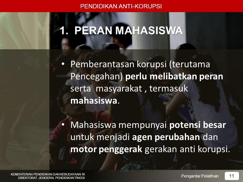 1. PERAN MAHASISWA Pemberantasan korupsi (terutama Pencegahan) perlu melibatkan peran serta masyarakat, termasuk mahasiswa. Mahasiswa mempunyai potens