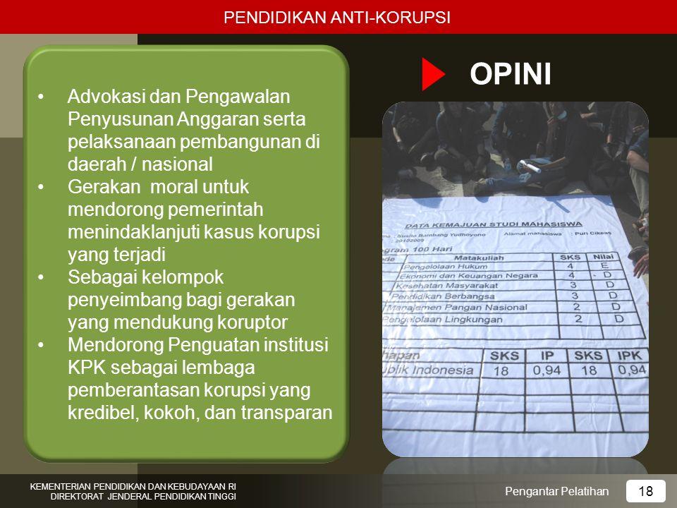 OPINI Advokasi dan Pengawalan Penyusunan Anggaran serta pelaksanaan pembangunan di daerah / nasional Gerakan moral untuk mendorong pemerintah menindak