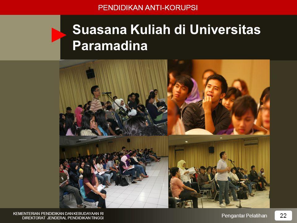 Suasana Kuliah di Universitas Paramadina Pengantar Pelatihan KEMENTERIAN PENDIDIKAN DAN KEBUDAYAAN RI DIREKTORAT JENDERAL PENDIDIKAN TINGGI 22 PENDIDI