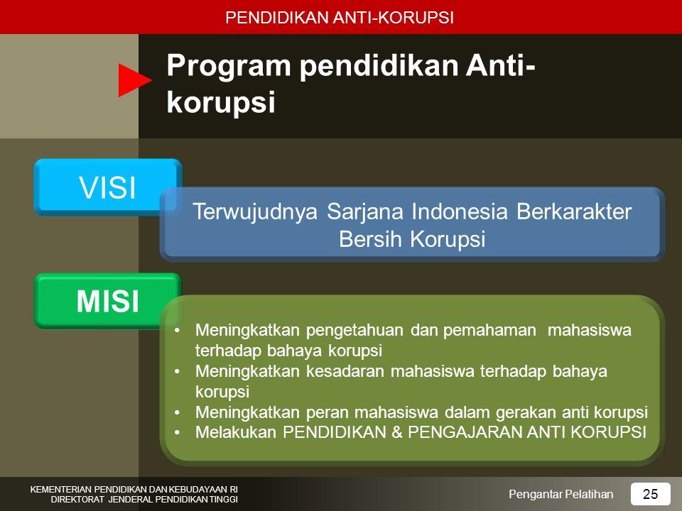 Program pendidikan Anti- korupsi Pengantar Pelatihan KEMENTERIAN PENDIDIKAN DAN KEBUDAYAAN RI DIREKTORAT JENDERAL PENDIDIKAN TINGGI 25 VISI MISI Terwu