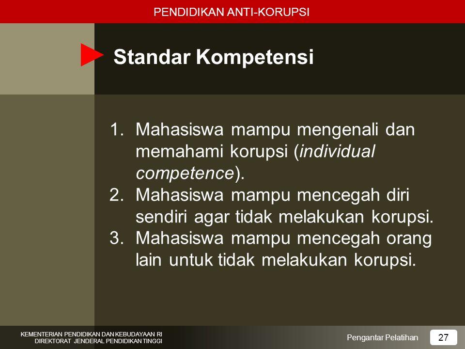 Standar Kompetensi 1.Mahasiswa mampu mengenali dan memahami korupsi (individual competence). 2.Mahasiswa mampu mencegah diri sendiri agar tidak melaku