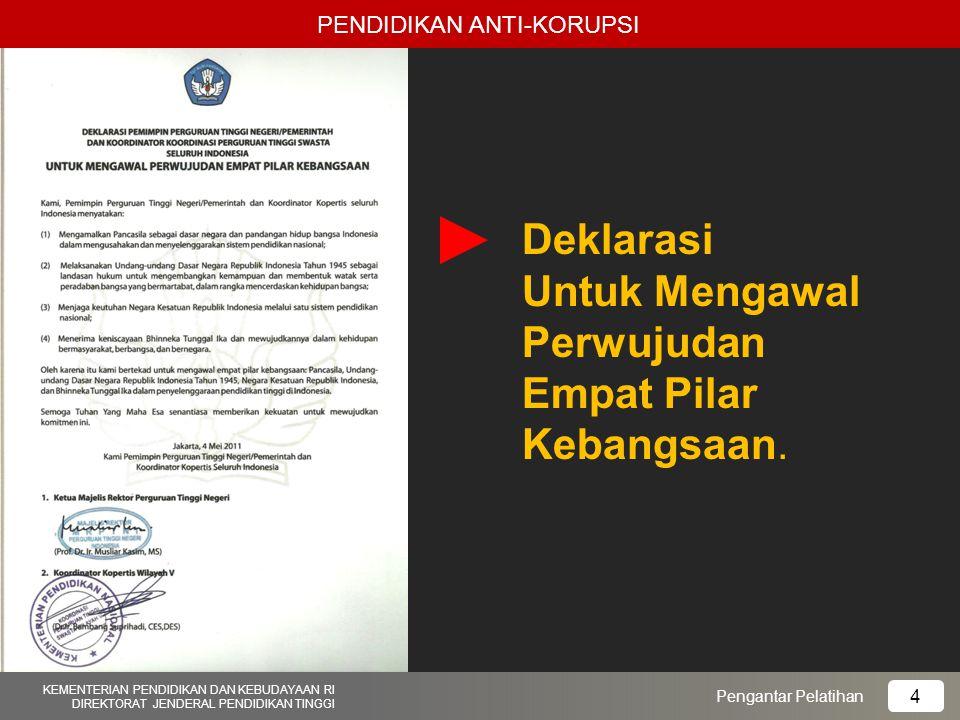 Deklarasi Untuk Mengawal Perwujudan Empat Pilar Kebangsaan. PENDIDIKAN ANTI-KORUPSI Pengantar Pelatihan KEMENTERIAN PENDIDIKAN DAN KEBUDAYAAN RI DIREK
