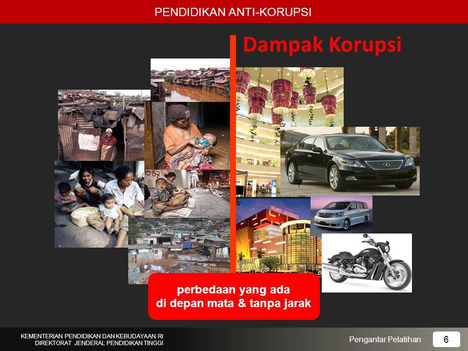 Dampak Korupsi PENDIDIKAN ANTI-KORUPSI Pengantar Pelatihan KEMENTERIAN PENDIDIKAN DAN KEBUDAYAAN RI DIREKTORAT JENDERAL PENDIDIKAN TINGGI 6 perbedaan