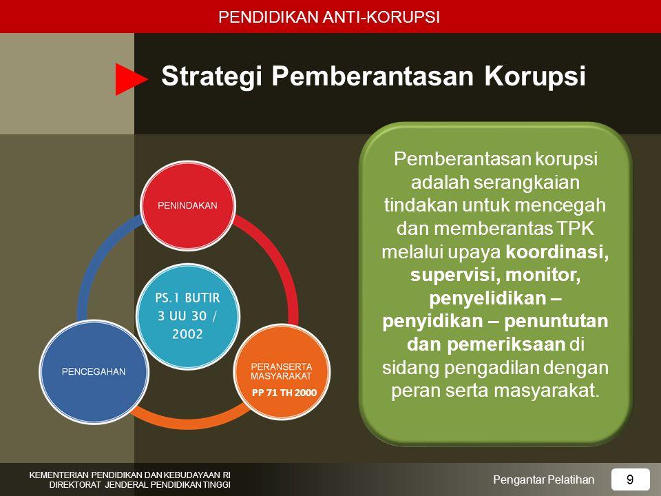 Strategi Pemberantasan Korupsi Pengantar Pelatihan KEMENTERIAN PENDIDIKAN DAN KEBUDAYAAN RI DIREKTORAT JENDERAL PENDIDIKAN TINGGI 9 PP 71 TH 2000 Pemb