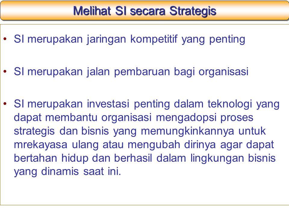 Sistem Informasi Strategis Definisi: Berbagai jenis SI yang menggunakan TI untuk membantu organisasi untuk mendapatkan keunggulan kompetitif, mengurangi kelemahan kompetitif atau untuk memenuhi tujuan strategis perusahaan lainnya
