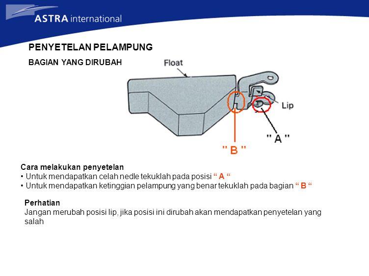 "PENYETELAN PELAMPUNG Cara melakukan penyetelan Untuk mendapatkan celah nedle tekuklah pada posisi "" A "" Untuk mendapatkan ketinggian pelampung yang be"