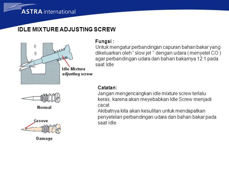 "IDLE MIXTURE ADJUSTING SCREW Fungsi : Untuk mengatur perbandingan capuran bahan bakar yang dikeluarkan oleh "" slow jet "" dengan udara ( menyetel CO )"
