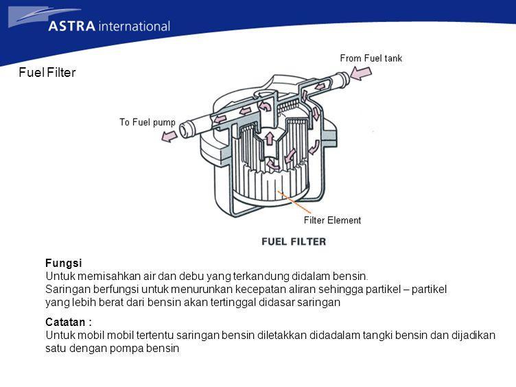 Fuel Filter Fungsi Untuk memisahkan air dan debu yang terkandung didalam bensin. Saringan berfungsi untuk menurunkan kecepatan aliran sehingga partike