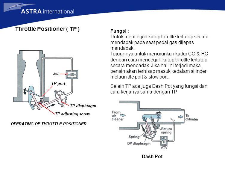 Throttle Positioner ( TP ) Fungsi : Untuk mencegah katup throttle tertutup secara mendadak pada saat pedal gas dilepas mendadak. Tujuannya untuk menur