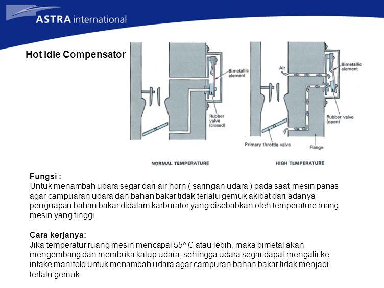 Hot Idle Compensator Fungsi : Untuk menambah udara segar dari air horn ( saringan udara ) pada saat mesin panas agar campuaran udara dan bahan bakar t