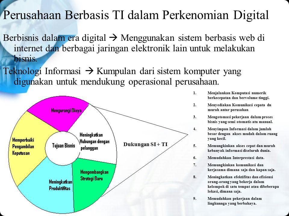 Perusahaan Berbasis TI dalam Perkenomian Digital Berbisnis dalam era digital  Menggunakan sistem berbasis web di internet dan berbagai jaringan elektronik lain untuk melakukan bisnis.
