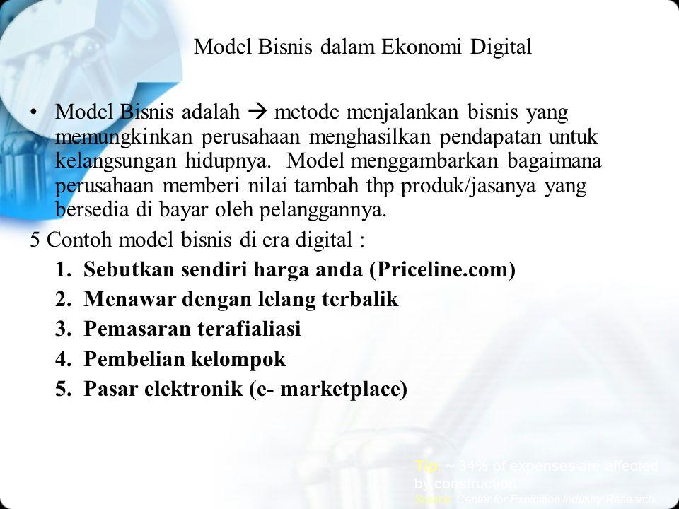 Model Bisnis dalam Ekonomi Digital 5 Contoh model bisnis : 1.