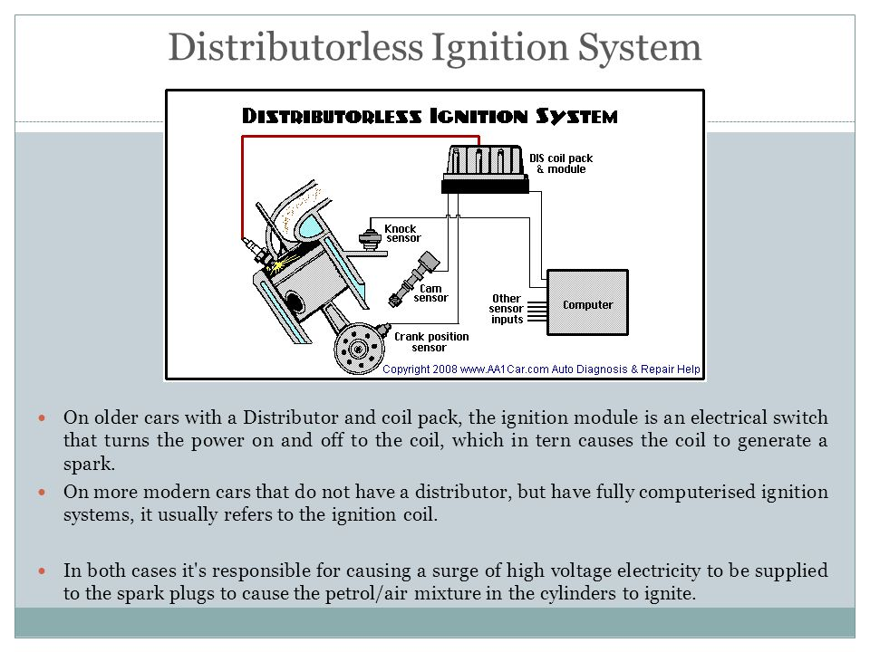 Distributorless Ignition System On older cars with a Distributor and coil pack, the ignition module is an electrical switch that turns the power on an