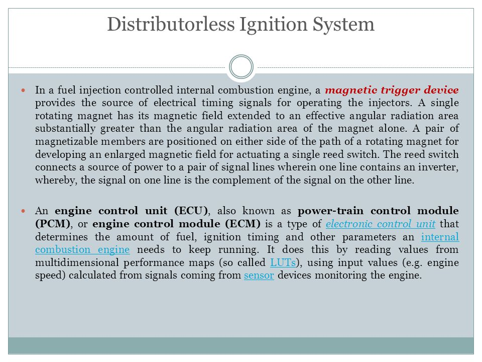 In a fuel injection controlled internal combustion engine, a magnetic trigger device provides the source of electrical timing signals for operating th
