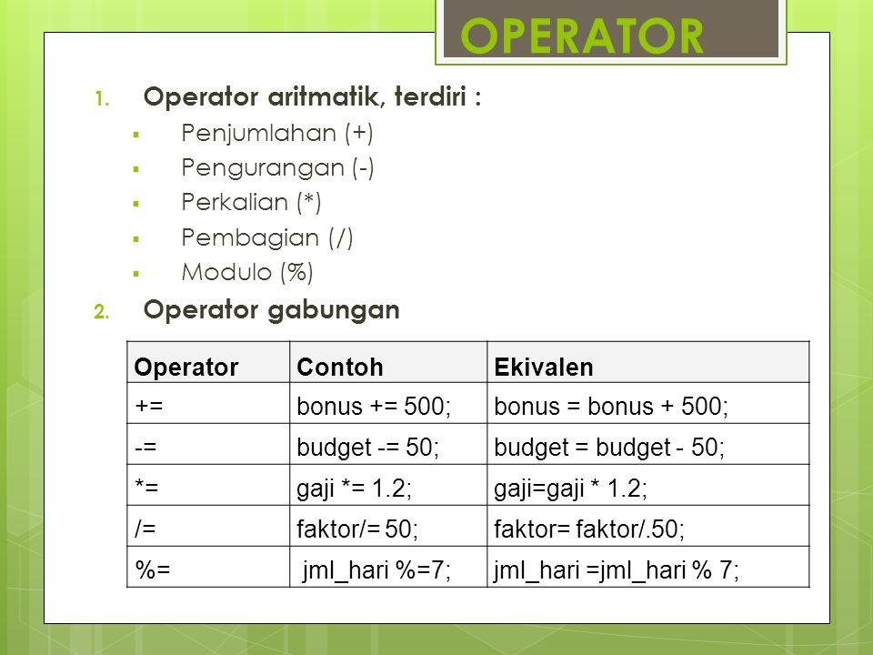 OPERATOR 1. Operator aritmatik, terdiri :  Penjumlahan (+)  Pengurangan (-)  Perkalian (*)  Pembagian (/)  Modulo (%) 2. Operator gabungan Operat