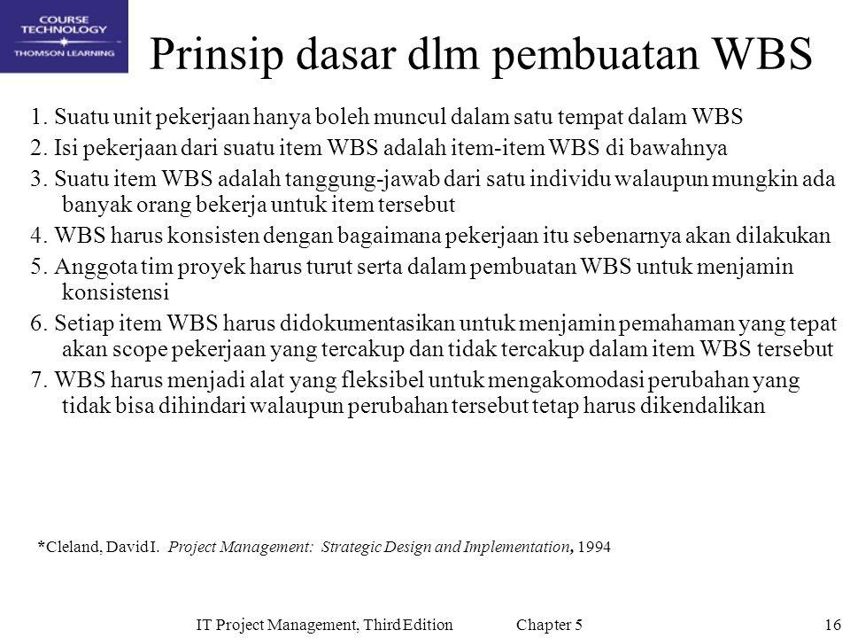 16IT Project Management, Third Edition Chapter 5 Prinsip dasar dlm pembuatan WBS 1.