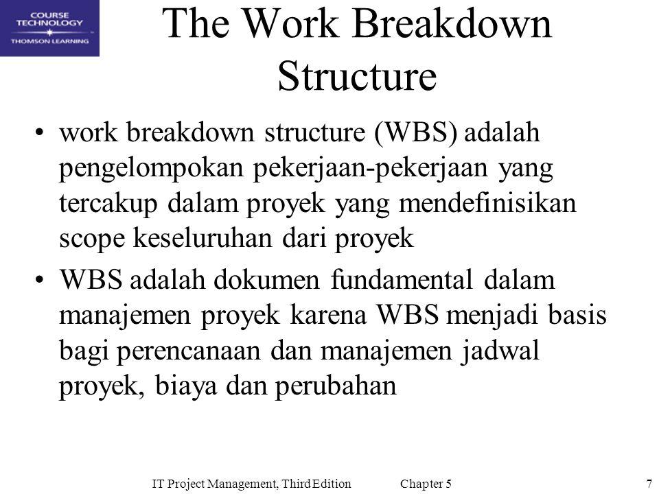 7IT Project Management, Third Edition Chapter 5 The Work Breakdown Structure work breakdown structure (WBS) adalah pengelompokan pekerjaan-pekerjaan yang tercakup dalam proyek yang mendefinisikan scope keseluruhan dari proyek WBS adalah dokumen fundamental dalam manajemen proyek karena WBS menjadi basis bagi perencanaan dan manajemen jadwal proyek, biaya dan perubahan