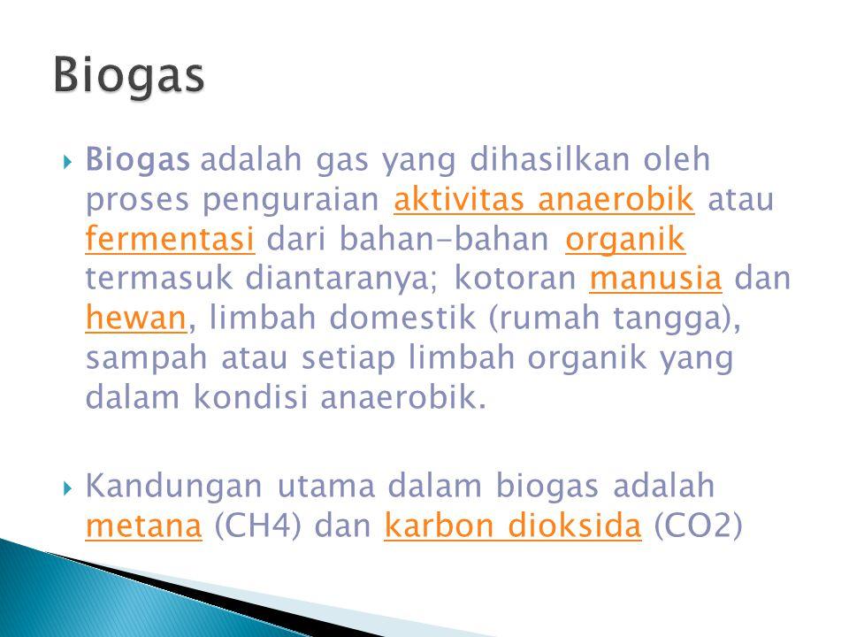  Biogas adalah gas yang dihasilkan oleh proses penguraian aktivitas anaerobik atau fermentasi dari bahan-bahan organik termasuk diantaranya; kotoran