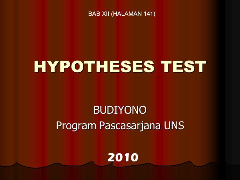 HYPOTHESES TEST BUDIYONO Program Pascasarjana UNS 2010 BAB XII (HALAMAN 141)