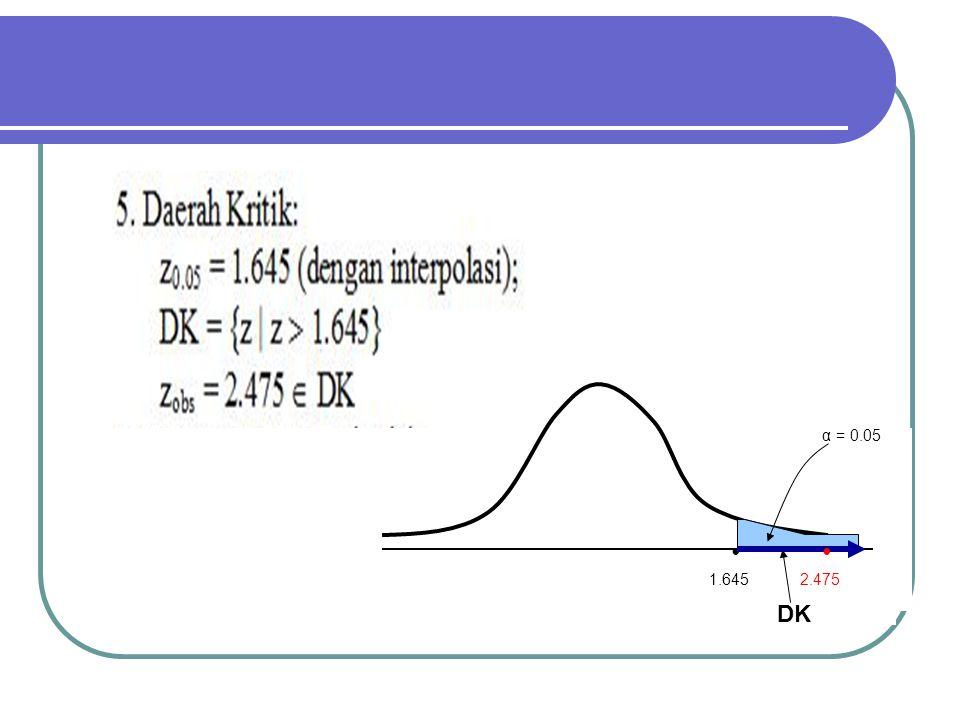 DK α = 0.05 1.645 2.475