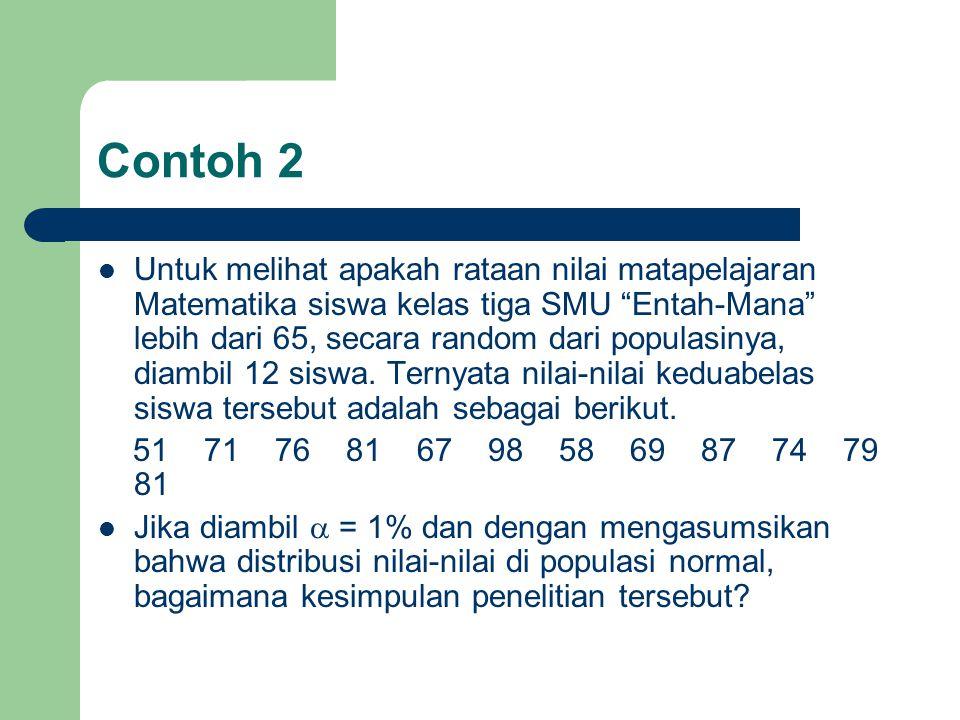 """Contoh 2 Untuk melihat apakah rataan nilai matapelajaran Matematika siswa kelas tiga SMU """"Entah-Mana"""" lebih dari 65, secara random dari populasinya, d"""