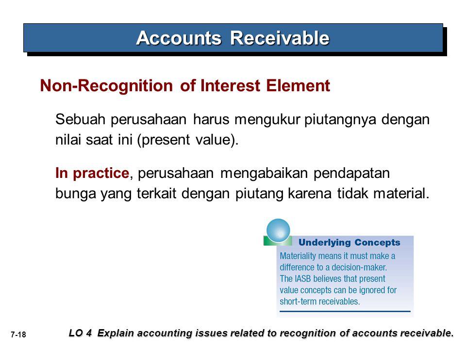 7-18 Sebuah perusahaan harus mengukur piutangnya dengan nilai saat ini (present value). Non-Recognition of Interest Element LO 4 Explain accounting is