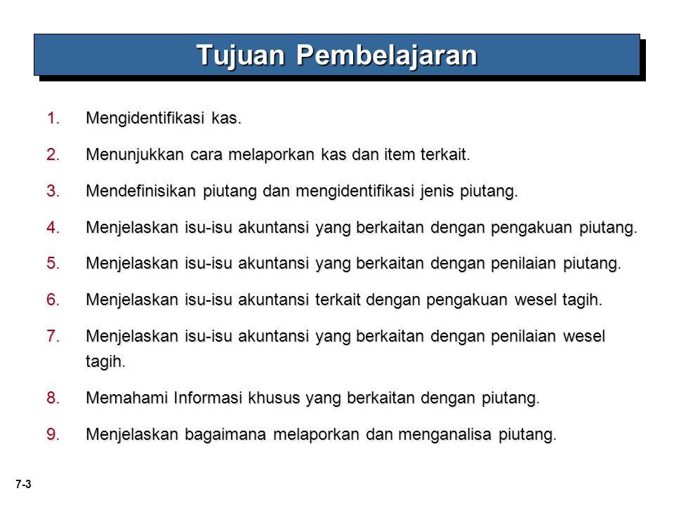 7-4 Pengakuan Penilaian Proses evaluasi kerugian KasPiutang Piutang Wesel Masalah Khusus Apa itu Kas.